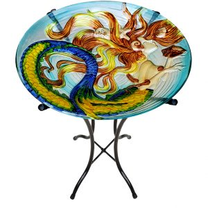 "Sunkissed Mermaid Glass Bird Bath Bowl - 18"" 4"