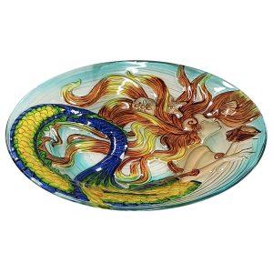 "Sunkissed Mermaid Glass Bird Bath Bowl - 18"" 2"