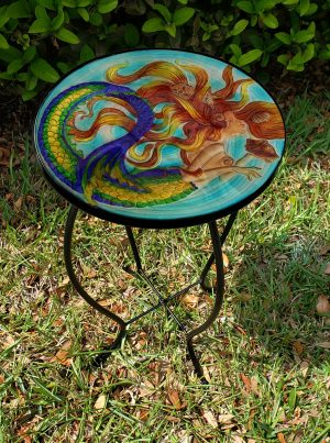 "Sunkissed Mermaid Glass Side Table - 12"" Diameter Top 2"