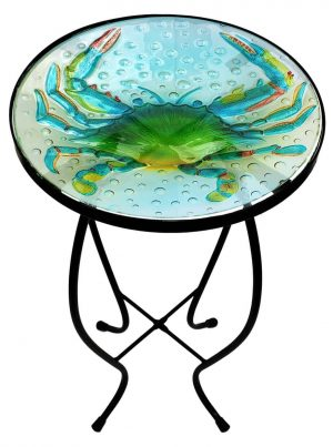 "Blue Crab Glass Side Table - 12"" Diameter Top 1"