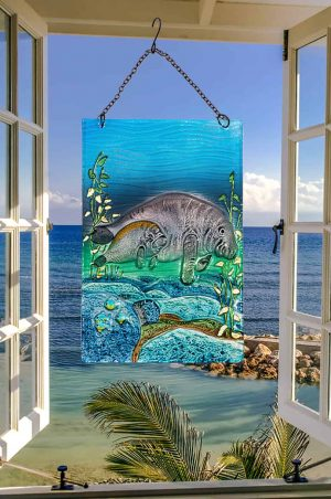 Magnificent Manatee Glass Suncatcher 2