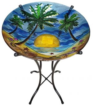 "Glorious Palm Tree Glass Bowl - 18"" 4"