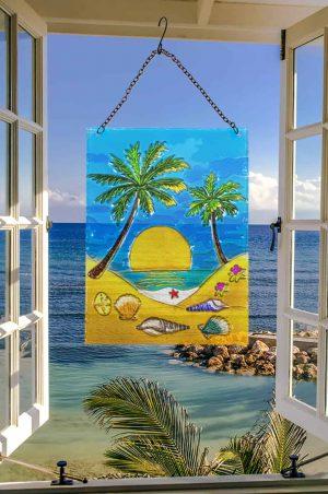 Pretty Palm Tree Glass Suncatcher 2