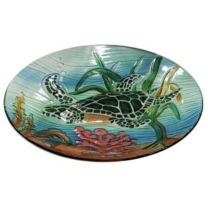 "Colorful Sea Turtle Glass Bird Bath Bowl - 18"" 2"