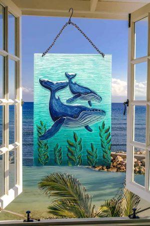 Wonderful Whale Glass Suncatcher 2