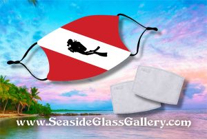 Dive Flag with Diver Silhouette Face Mask w/ Melt Blown Filter 1