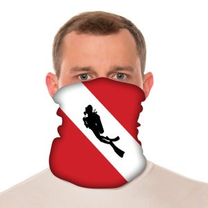 "Dive Flag with Diver Silhouette Neck Gaiter / Beach Balaclava - 18"" Long Microfiber Polyester 1"