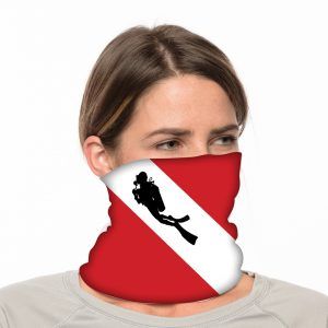 "Dive Flag with Diver Silhouette Neck Gaiter / Beach Balaclava - 18"" Long Microfiber Polyester 2"