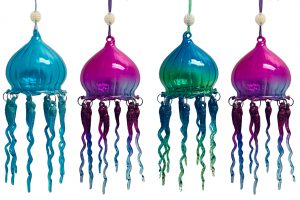 jellyfish glass christmas ornament