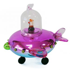 "Far-out Glass UFO Christmas Ornament Pink - 6"" long 1"