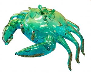 Attractive Glass Crab Christmas Ornament (Green) 1