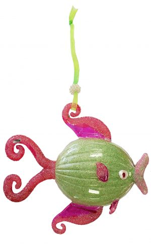 Whimsical Glass Tropical Fish Christmas Ornament (green with pink fins) 1