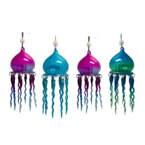 "Magnificent Glass Jellyfish Christmas Ornament, Set of 4 - 8"" long 1"