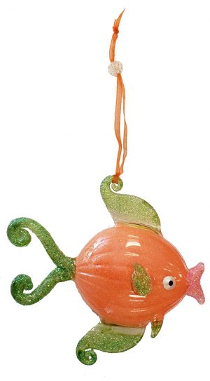 Elegant Glass Tropical Fish Christmas Ornament (orange with green fins) 1