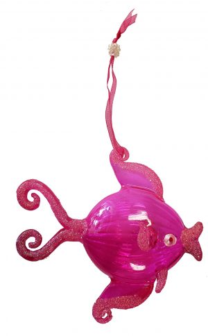 Exquisite Glass Tropical Fish Christmas Ornament (pink) 1