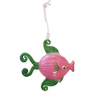 Lovely Glass Tropical Fish Christmas Ornament (pink with green fins) 1