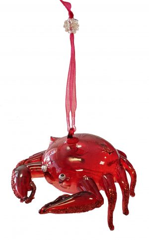 Enchanting Glass Crab Christmas Ornament (Red) 2