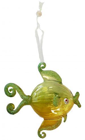 Splendid Glass Tropical Fish Christmas Ornament (Yellow) 1