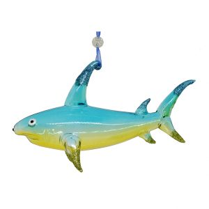 "Dazzling Glass Shark Christmas Ornament (blue-green) - 6"" long 1"