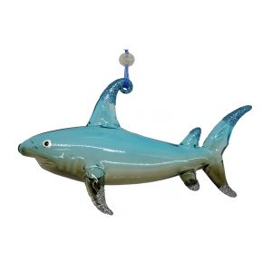 "Marvelous Glass Shark Christmas Ornament (blue-grey) - 6"" long 1"