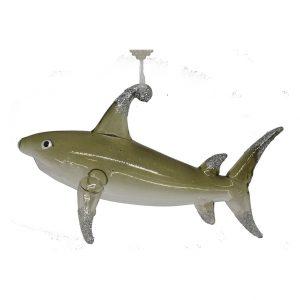 "Phenomenal Glass Shark Christmas Ornament (grey) - 6"" long 1"