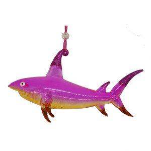 """Incredible Glass Shark Christmas Ornament (pink) - 6"""" long 1"""