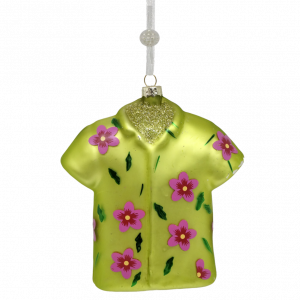 Splendid Glass Hawaiian Shirt Christmas Ornament (green) 1