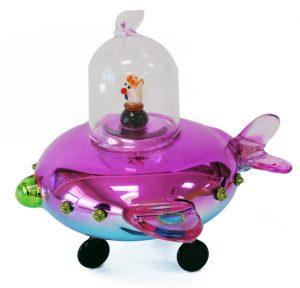 UFO Glass Christmas Ornament