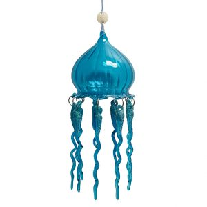 """Magnificent Glass Jellyfish Christmas Ornament - Blue, 8"""" Long 1"""