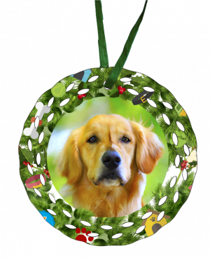 christmas dog ornament green ribbon