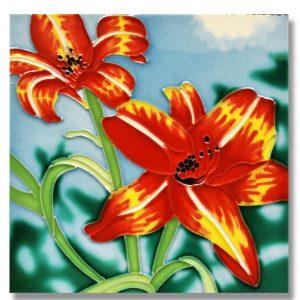 Day Lily Tile Trivet 1