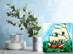 Ship Tile Trivet 2