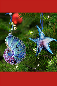 sealife glass christmas ornaments - coastal christmas