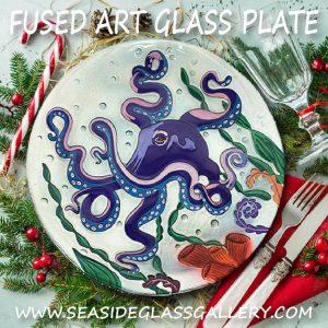 "Purple Octopus Glass Plate - 8"" 3"