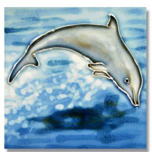 Jumping Dolphin Tile Trivet 1