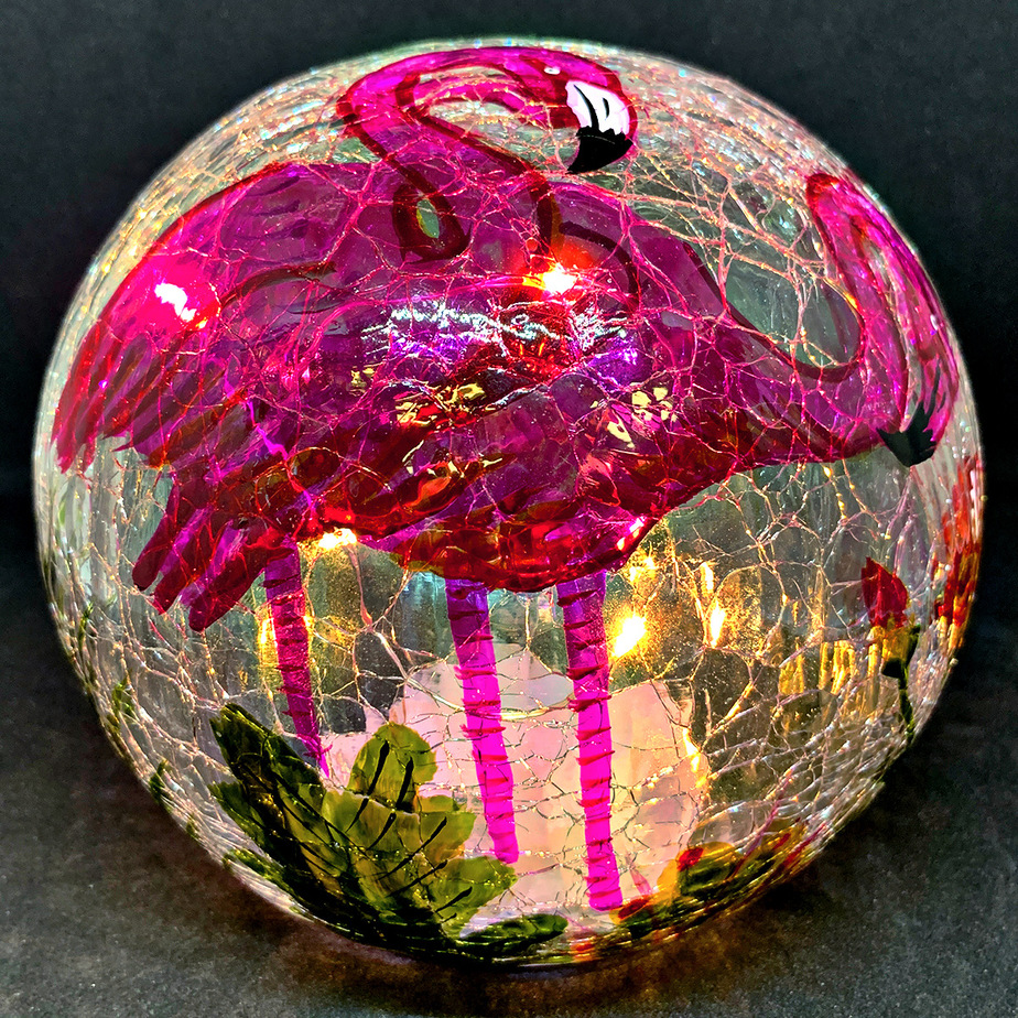 "Charming Flamingo Gazing Globe Light - 6"" 1"