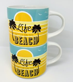 retro beach stackable mug