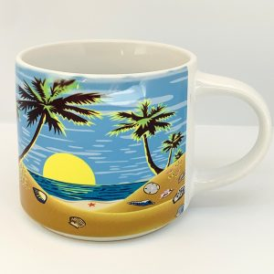 palm tree sunset stackable coffee mug
