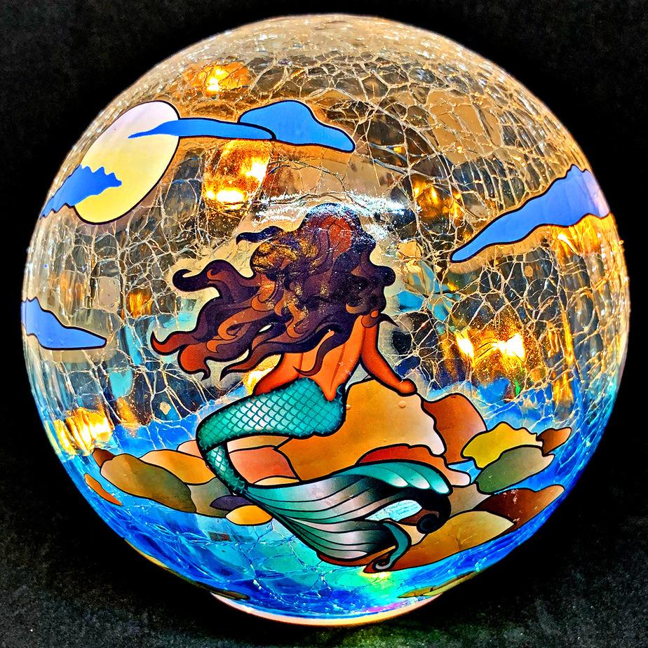 """Enchanting Mermaid Gazing Globe Light - 6"""" 1"""