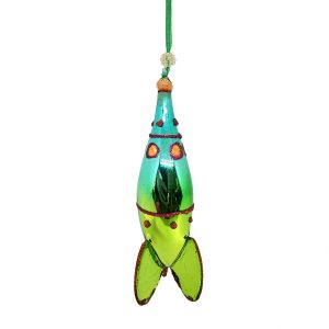 "Rocket Christmas Ornament Blue Green - 6"" long 1"
