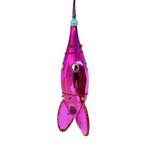 "Rocket Christmas Ornament Pink - 6"" long 1"