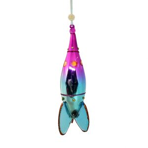 "Rocket Christmas Ornament Pink Blue - 6"" long 1"