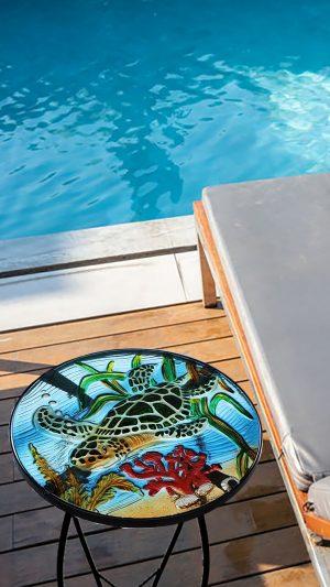 "Wonderful Sea Turtle Glass Side Table - 12"" Diameter Top 3"