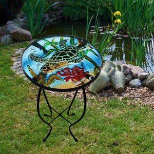 "Wonderful Sea Turtle Glass Side Table - 12"" Diameter Top 2"