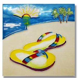 Lg Yellow Flip Flops Tile Trivet 1