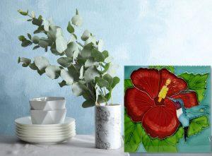 Lg Hummingbird and Hibiscus Tile Trivet 3