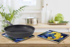 Lg Yellow Seahorse Tile Trivet 3