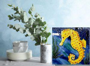 Lg Yellow Seahorse Tile Trivet 2