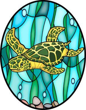"Sea Turtle Oval Window Cling - 4"" x 5"" 1"