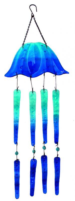 "Glass Jellyfish (Blue) Wind Chime - 27"" 1"